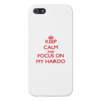Guarde la calma y el foco en mi peinado iPhone 5 coberturas