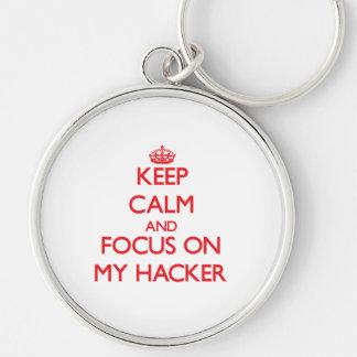 Guarde la calma y el foco en mi pirata informático llaveros personalizados