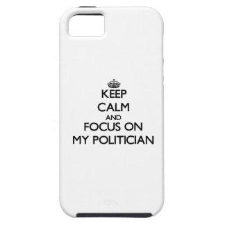 Guarde la calma y el foco en mi político iPhone 5 carcasa