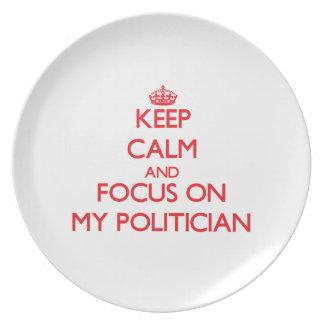 Guarde la calma y el foco en mi político plato para fiesta
