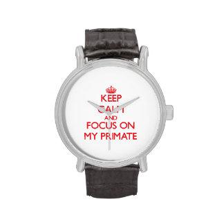 Guarde la calma y el foco en mi primate relojes de pulsera