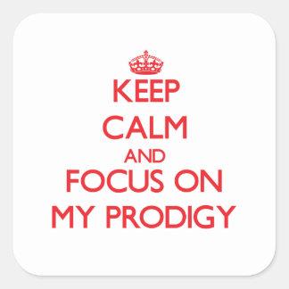 Guarde la calma y el foco en mi Prodigy Calcomanías Cuadradass Personalizadas