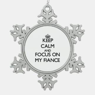 Guarde la calma y el foco en mi prometido adornos