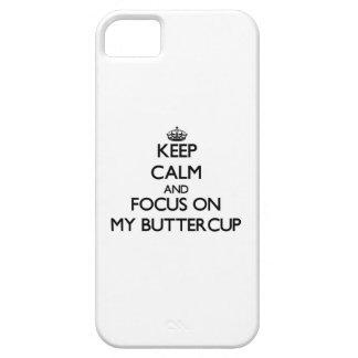 Guarde la calma y el foco en mi ranúnculo iPhone 5 fundas