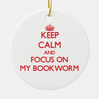 Guarde la calma y el foco en mi ratón de ornamentos de navidad