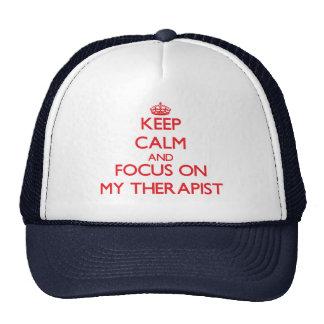 Guarde la calma y el foco en mi terapeuta gorro de camionero