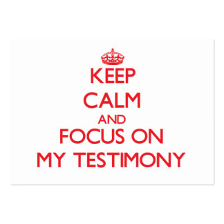 Guarde la calma y el foco en mi testimonio tarjeta de visita
