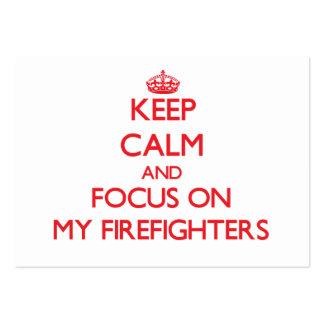 Guarde la calma y el foco en mis bomberos tarjetas de visita grandes