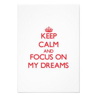 Guarde la calma y el foco en mis sueños anuncio personalizado