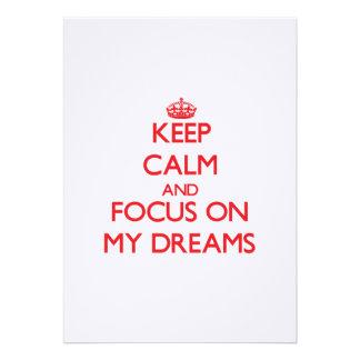 Guarde la calma y el foco en mis sueños anuncio