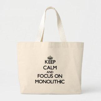 Guarde la calma y el foco en monolítico bolsas de mano