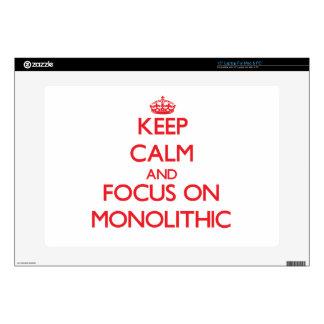Guarde la calma y el foco en monolítico 38,1cm portátil calcomanías