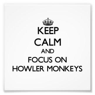 Guarde la calma y el foco en monos de chillón fotografias