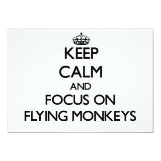 """Guarde la calma y el foco en monos del vuelo invitación 5"""" x 7"""""""
