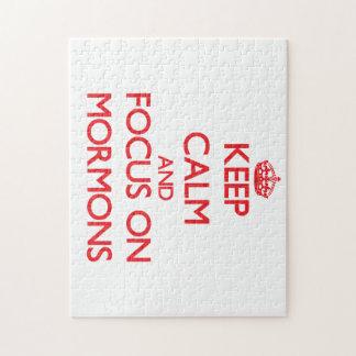 Guarde la calma y el foco en mormones puzzle