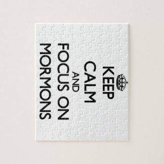Guarde la calma y el foco en mormones puzzle con fotos