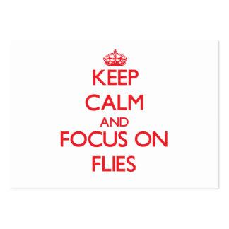 Guarde la calma y el foco en moscas tarjetas de negocios