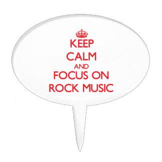 Guarde la calma y el foco en música rock figuras para tartas
