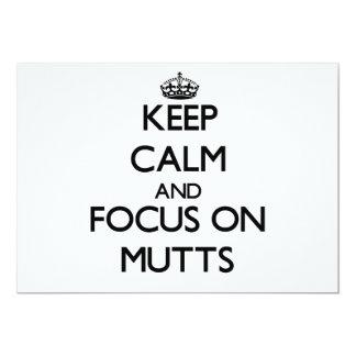 Guarde la calma y el foco en Mutts Invitación 12,7 X 17,8 Cm