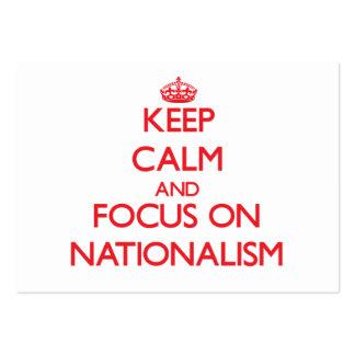 Guarde la calma y el foco en nacionalismo tarjetas de visita grandes