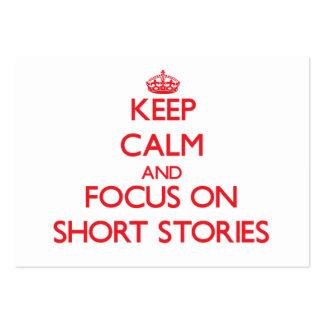 Guarde la calma y el foco en narraciones breves tarjetas de visita grandes