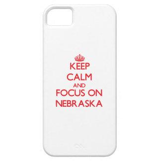 Guarde la calma y el foco en Nebraska iPhone 5 Case-Mate Cobertura