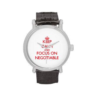 Guarde la calma y el foco en negociable relojes de mano