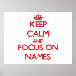 Guarde la calma y el foco en nombres impresiones