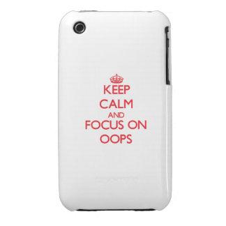 guarde la calma Y EL FOCO EN oOPS iPhone 3 Fundas