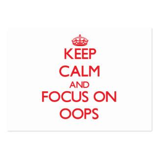 Guarde la calma y el foco en Oops Plantilla De Tarjeta De Visita