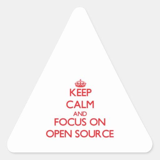 Guarde la calma y el foco en Open Source Calcomania De Triangulo