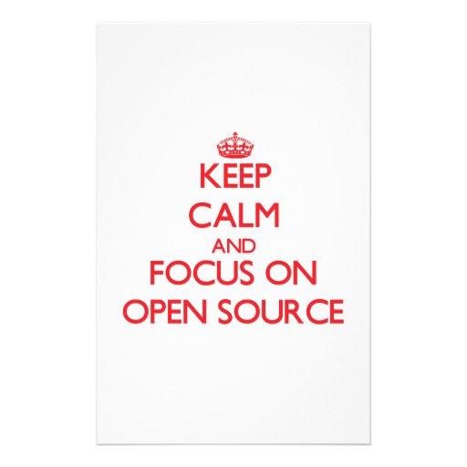 Guarde la calma y el foco en Open Source Personalized Stationery
