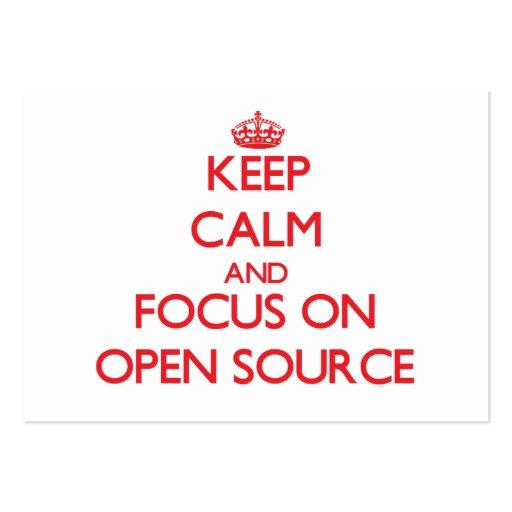 Guarde la calma y el foco en Open Source Tarjetas Personales