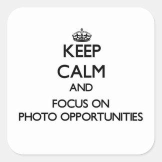 Guarde la calma y el foco en oportunidades de la pegatina cuadrada