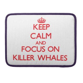 Guarde la calma y el foco en orcas fundas para macbooks