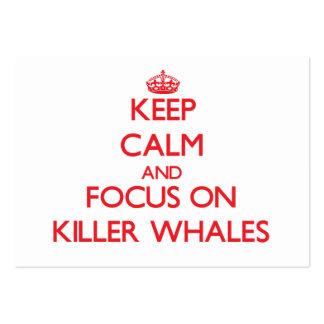 Guarde la calma y el foco en orcas tarjetas de visita grandes