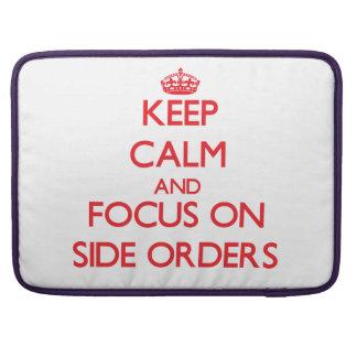 Guarde la calma y el foco en órdenes laterales funda para macbooks
