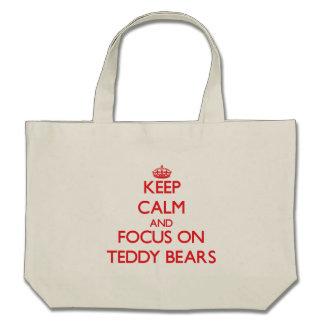 Guarde la calma y el foco en osos de peluche bolsas de mano