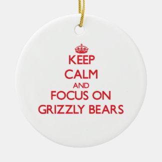 Guarde la calma y el foco en osos grizzly adornos