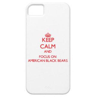 Guarde la calma y el foco en osos negros iPhone 5 Case-Mate fundas