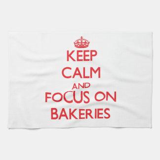 Guarde la calma y el foco en panaderías toallas