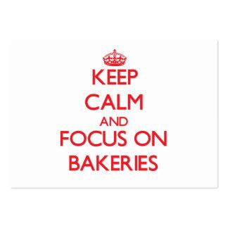 Guarde la calma y el foco en panaderías tarjetas de visita grandes