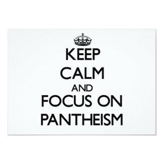 Guarde la calma y el foco en panteísmo invitación 12,7 x 17,8 cm