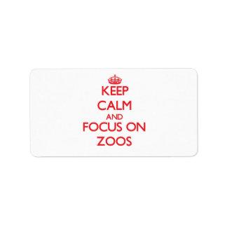 Guarde la calma y el foco en parques zoológicos etiqueta de dirección