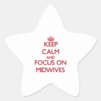 Guarde la calma y el foco en parteras calcomania forma de estrella personalizadas