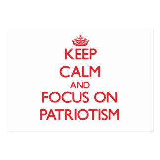 Guarde la calma y el foco en patriotismo tarjetas de visita grandes