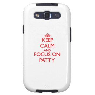 Guarde la calma y el foco en Patty Galaxy S3 Carcasa