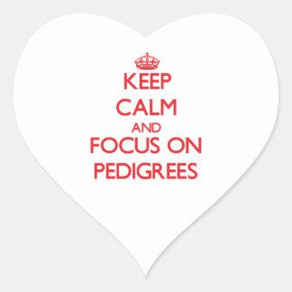 Guarde la calma y el foco en pedigríes colcomanias de corazon personalizadas
