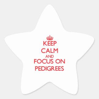 Guarde la calma y el foco en pedigríes pegatinas forma de estrella
