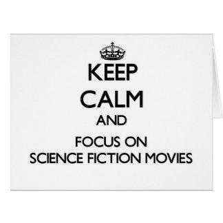 Guarde la calma y el foco en películas de la tarjeta de felicitación grande